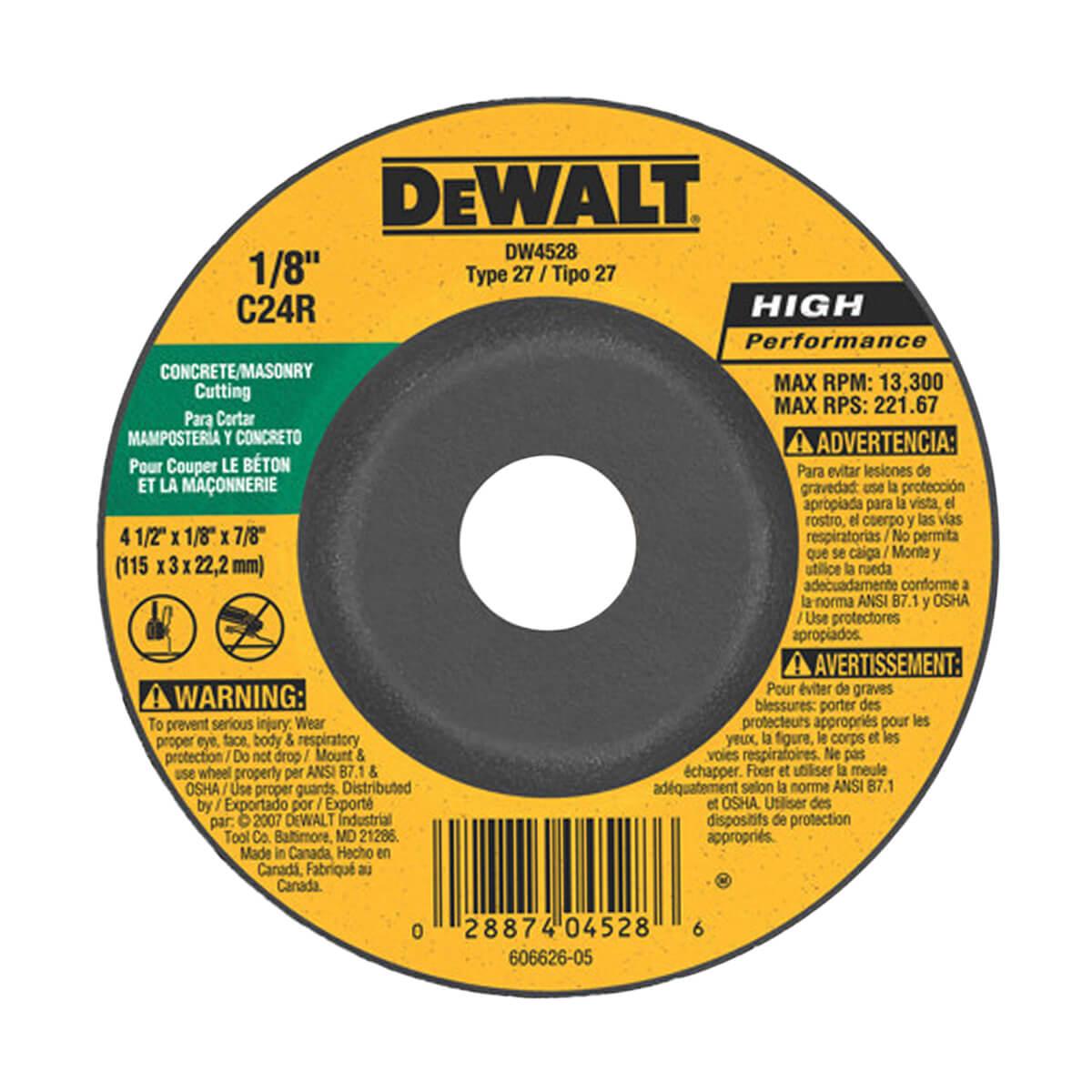 """DEWALT Concrete/Masonry Cutting Wheel - 4-1/2"""" x 1/8"""" x 7/8"""""""