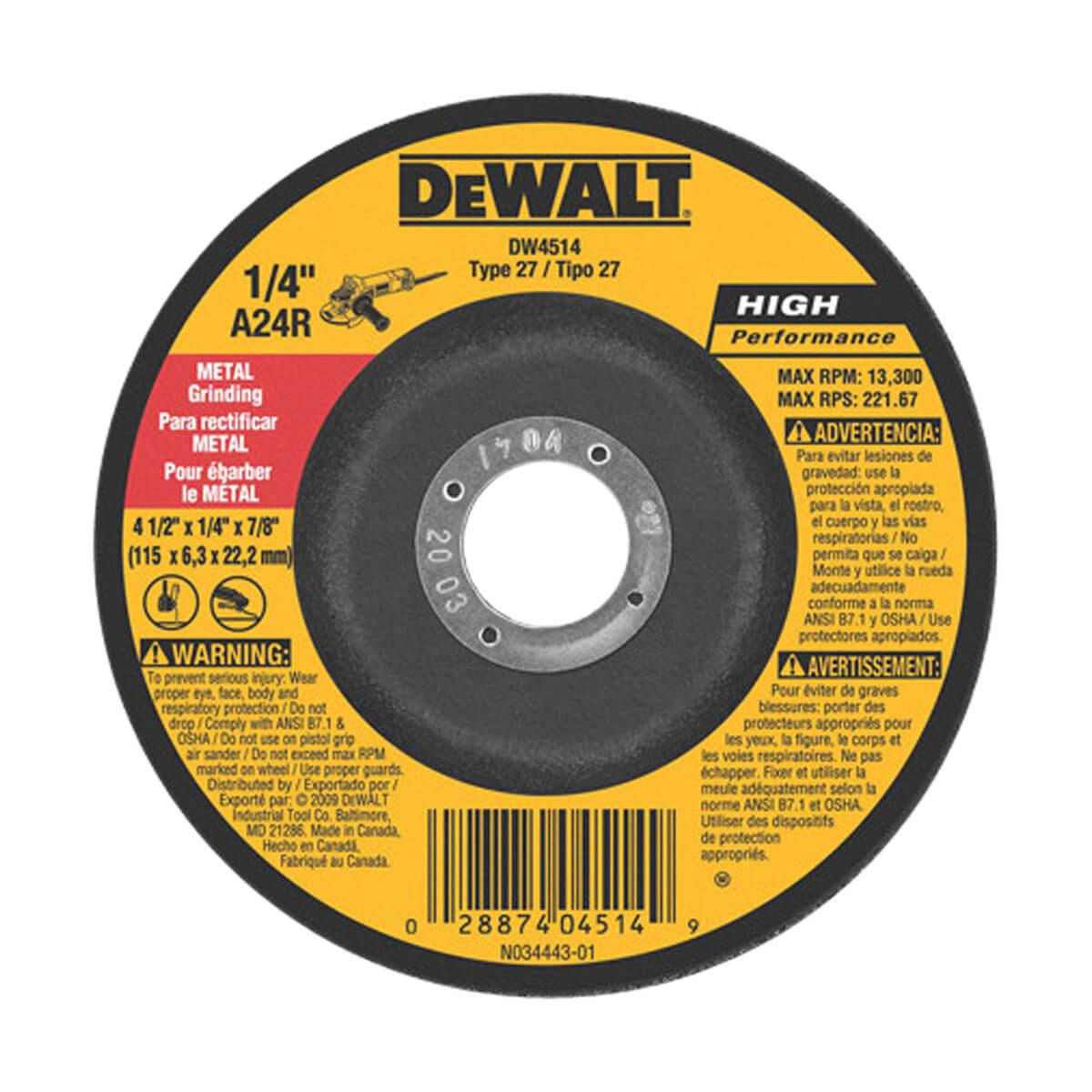 """DEWALT General Purpose Metal Grinding Wheel - 5"""" x 1/4"""" x 7/8"""""""
