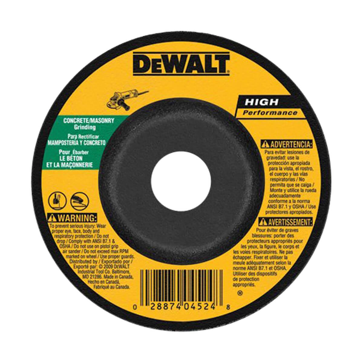 "DEWALT Concrete/Masonry Grinding Wheel - 5"" x 1/4"" x 7/8"""