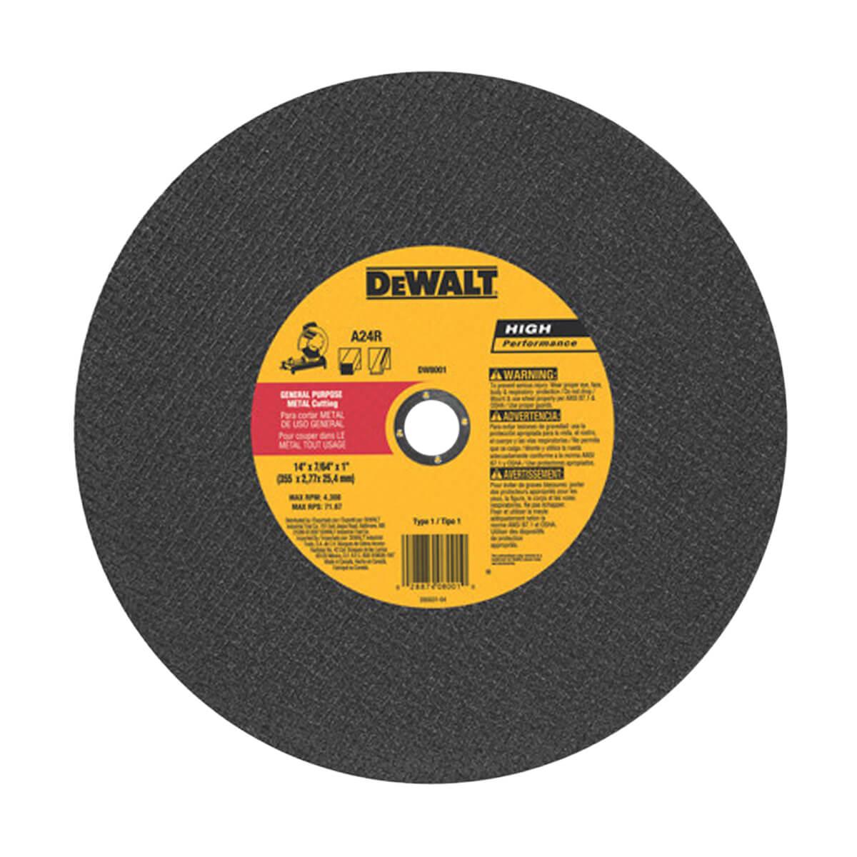 """DEWALT DW8001 14"""" x 3/32"""" General Purpose Chop Saw Wheel"""