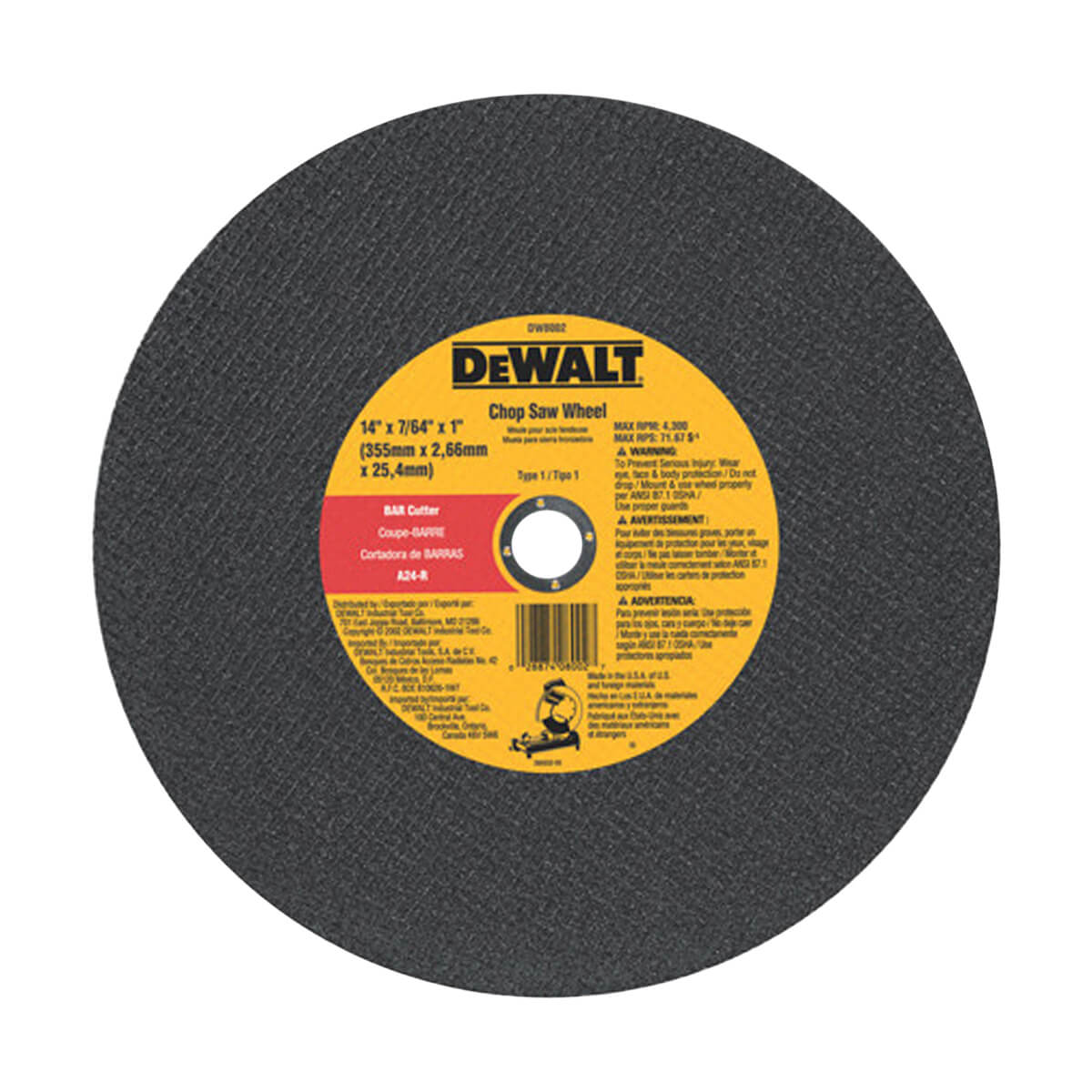 """DEWALT DW8002 14"""" x 3/32"""" Bar Cutter Chop Saw Wheel"""