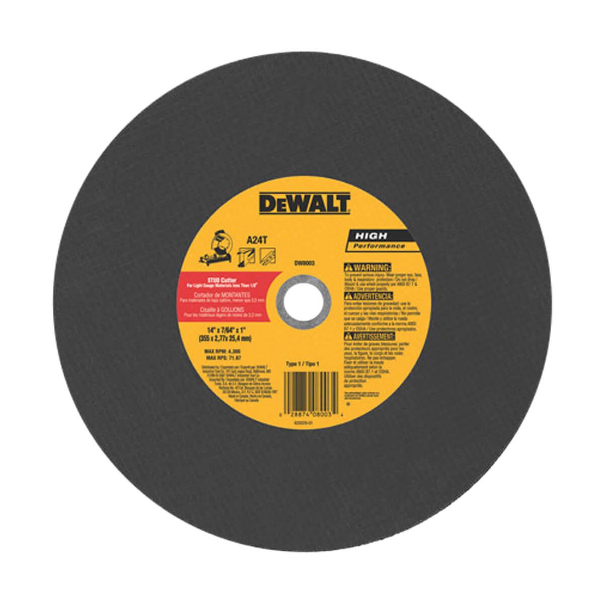 """DEWALT DW8003 14 x 3/32"""" Stud Cutter Chop Saw Wheel"""
