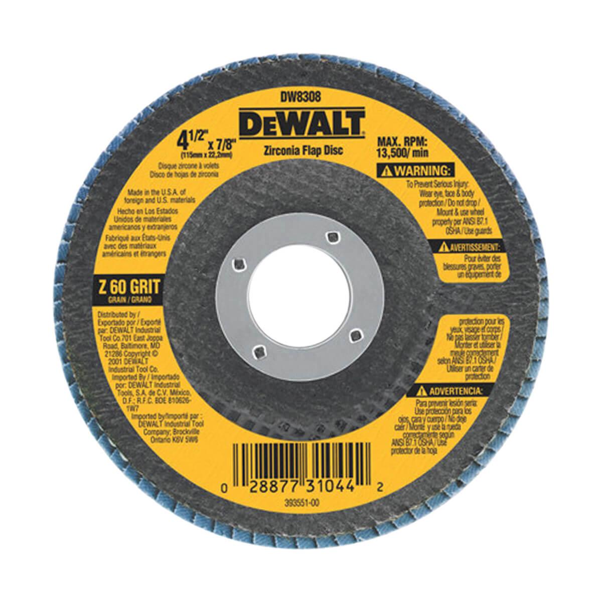 """DEWALT 4.5"""" X 7/8"""" Zirconia T29 Flap Disc"""