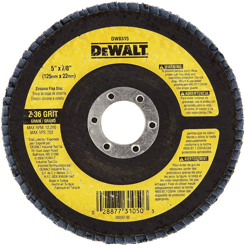 """DEWALT 5"""" X 7/8"""" Zirconia T29 Flap Disc"""
