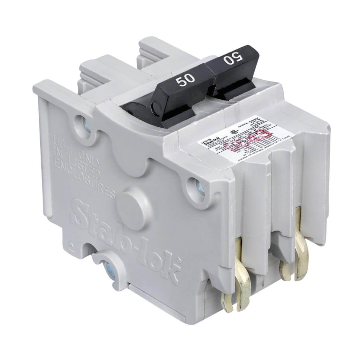 Stab-lok (NC) Double Pole 50 Amp Plug-On Circuit Breaker
