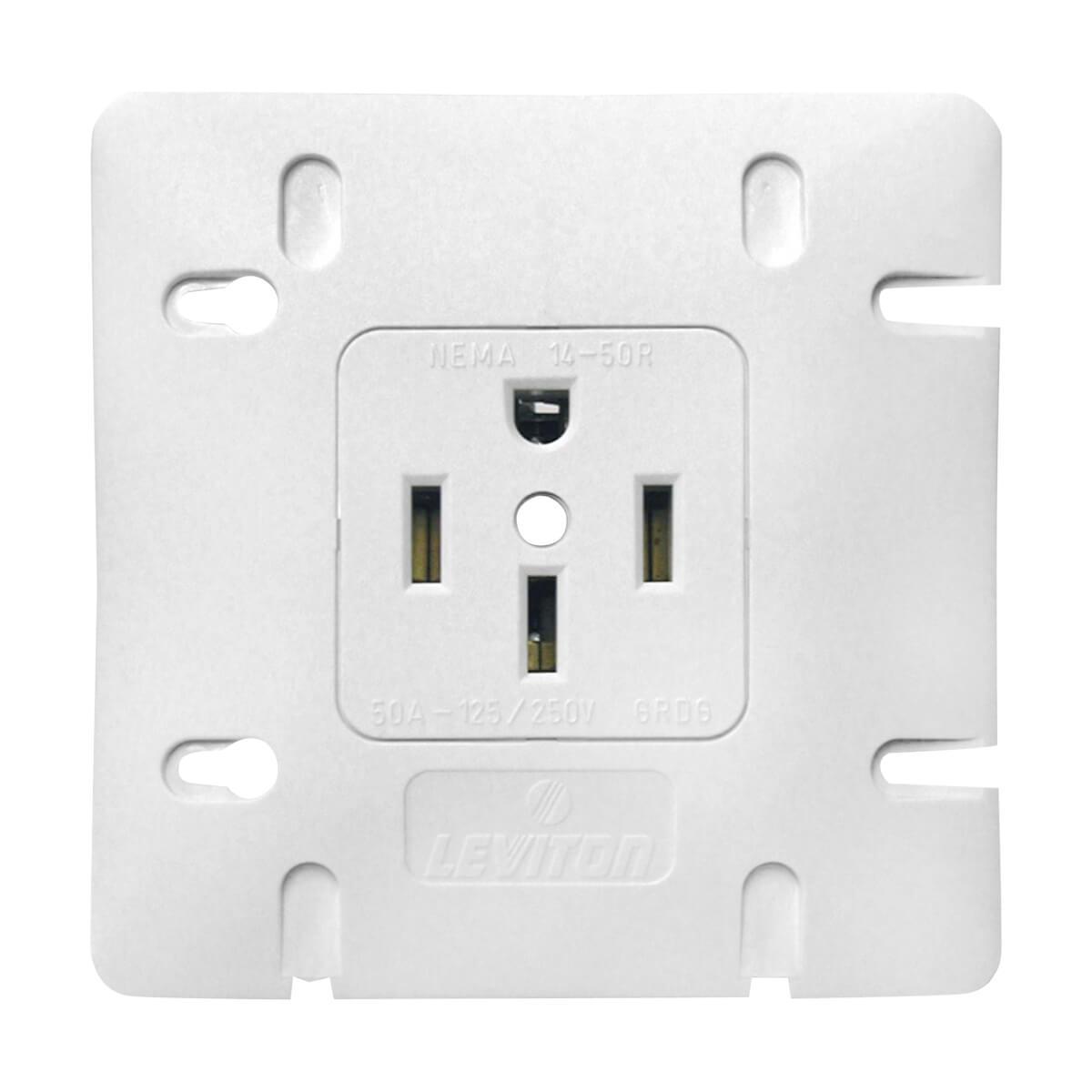 Stove Receptacle - 50 A - 125/250 V - Plastic - White - 1168-2-SP