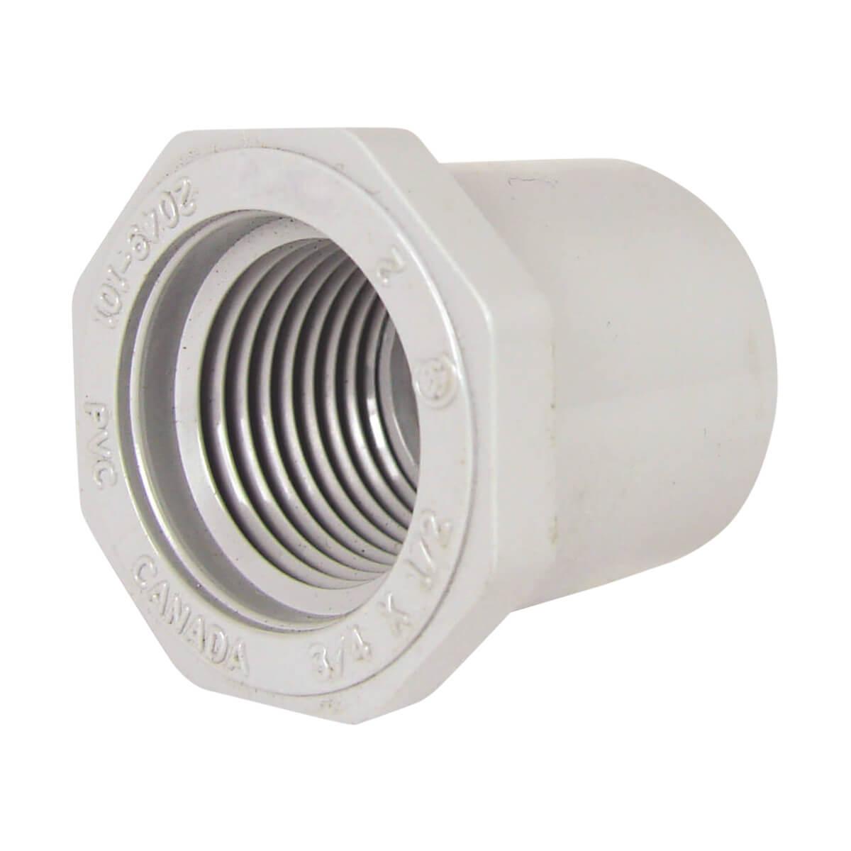 "PVC Conduit Threaded Reducer Bushing - Spigot x FPT - 3/4"" x 1/2"""