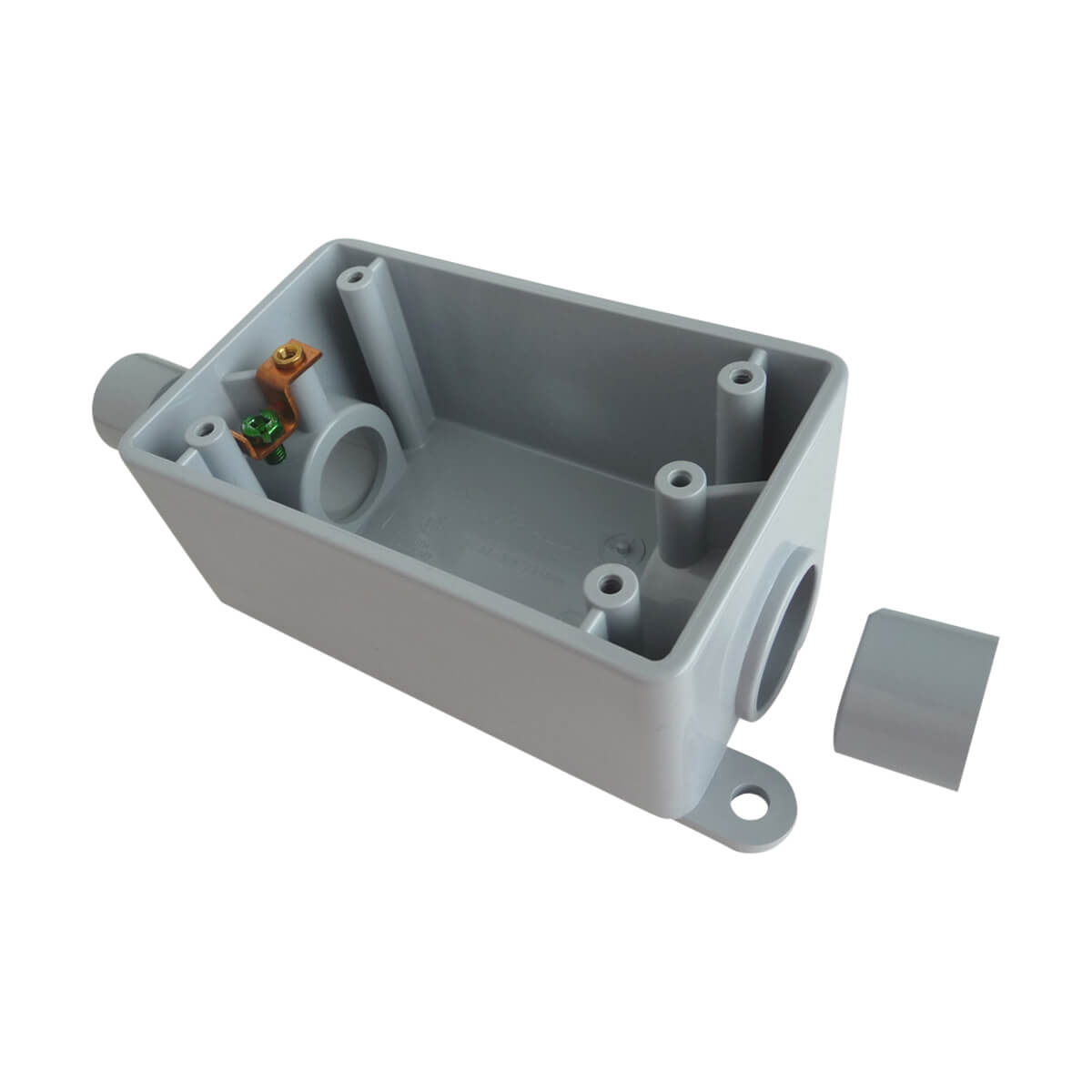 "PVC FSC 2-in-1 Single Gang Box (with reducer bushings) - Hub - 1/2"" and 3/4"""