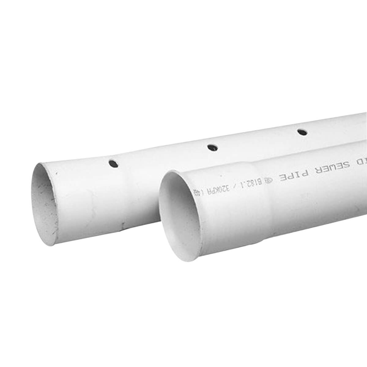 """PVC Drainline Sewer Pipe - Perforated - 4"""" x 10'"""