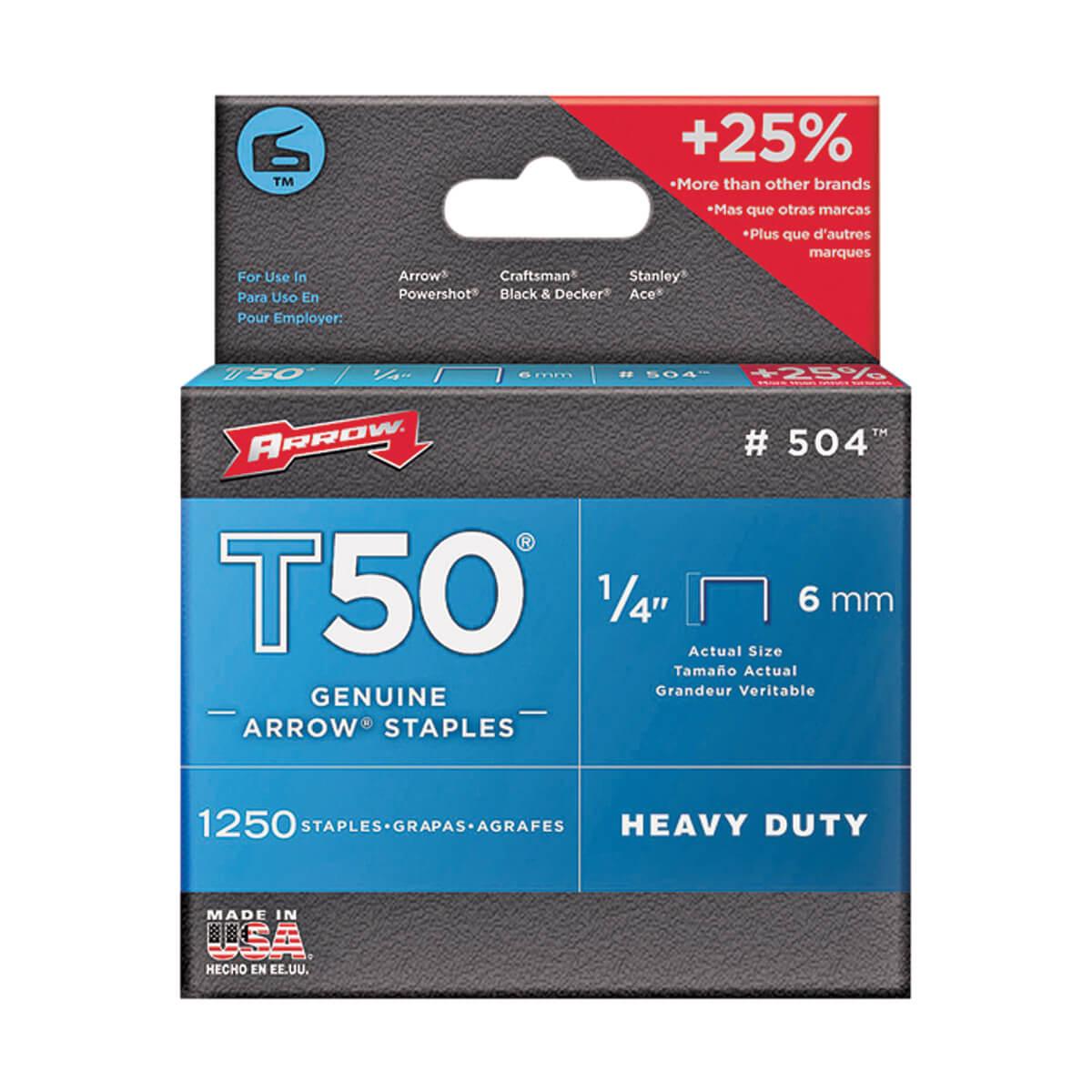 "T50 Heavy Duty Crown Staples, 1/4"" (box of 1250)"
