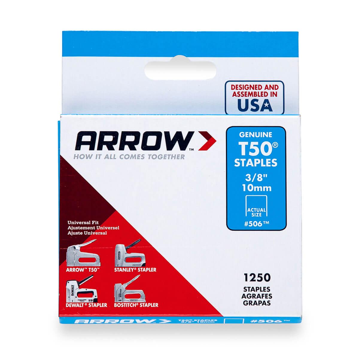 "Arrow T50 3/8"" Staples  - 1250-Pack"