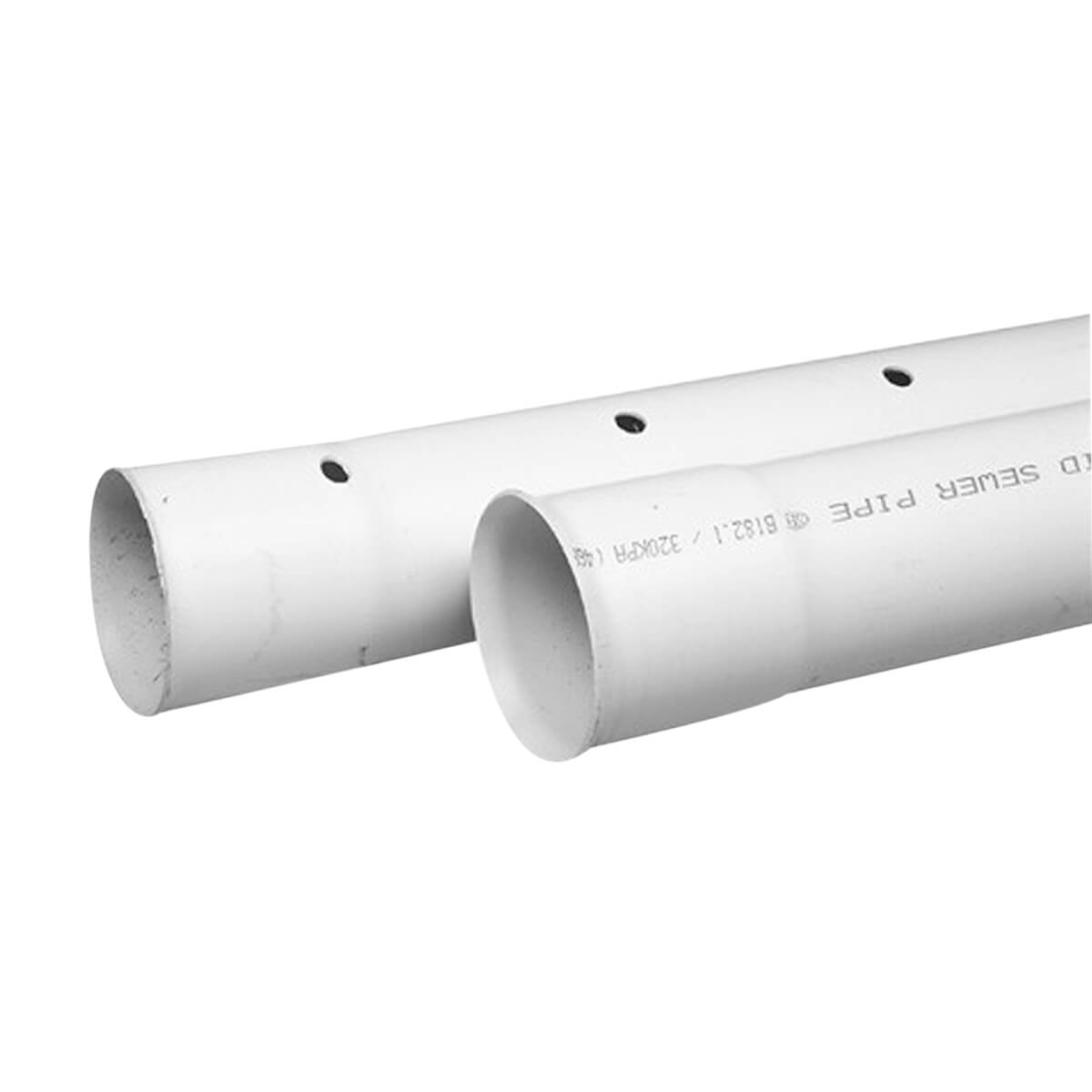 """PVC Drainline Sewer Pipe - Solid - 4"""" x 10'"""