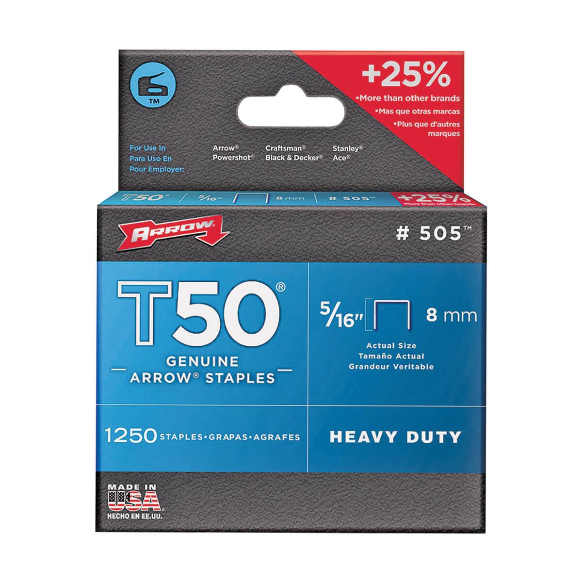 "Heavy Duty Crown Staples, 5/16"" (box of 1250)"
