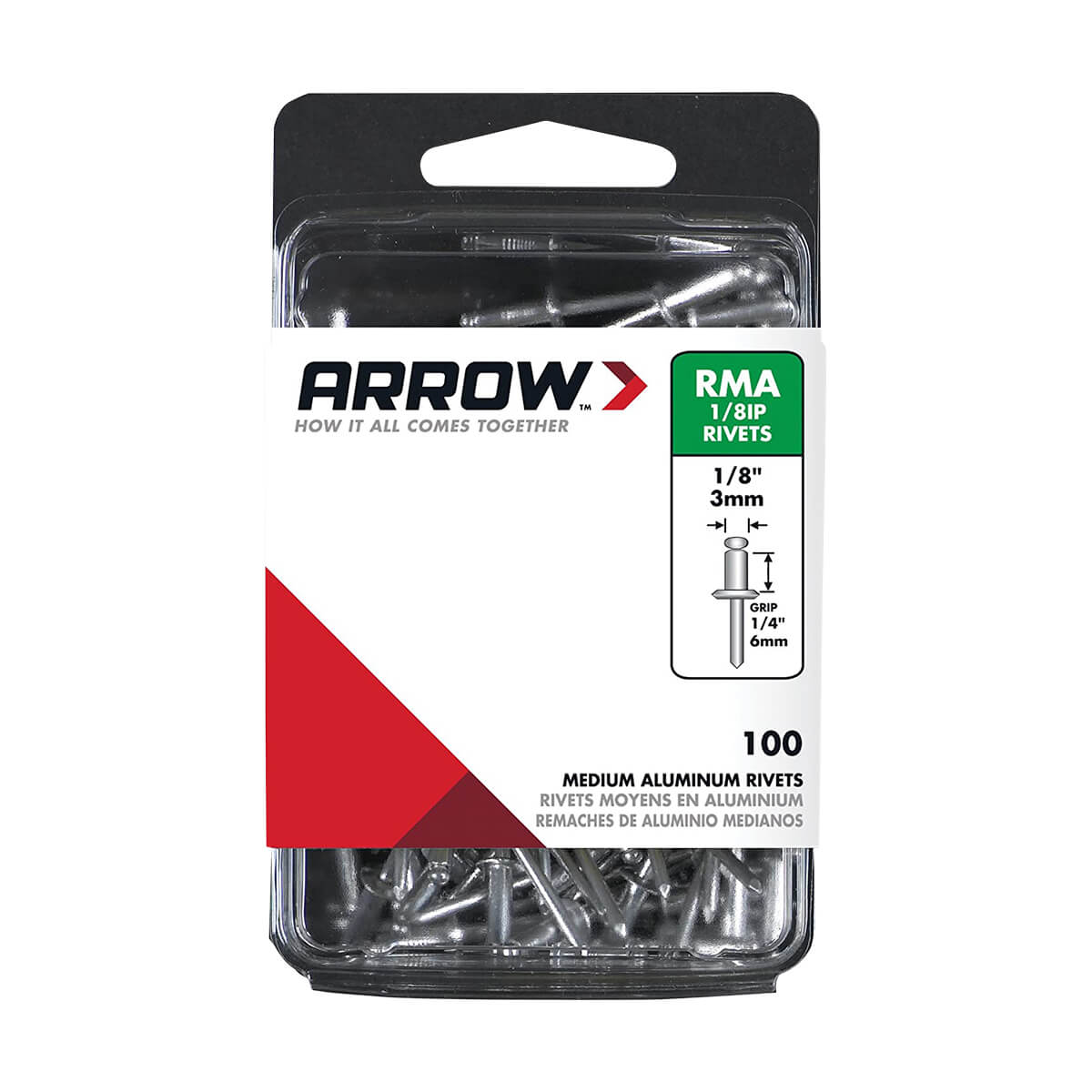 "Aluminum Medium Rivets - 1/8"" - 100/Pack"