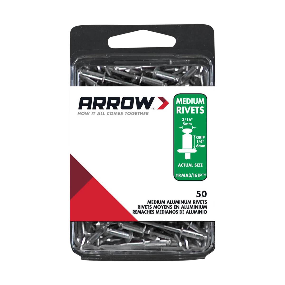 Arrow Rivet 3/16 Medium IP Aluminum - 50 pack