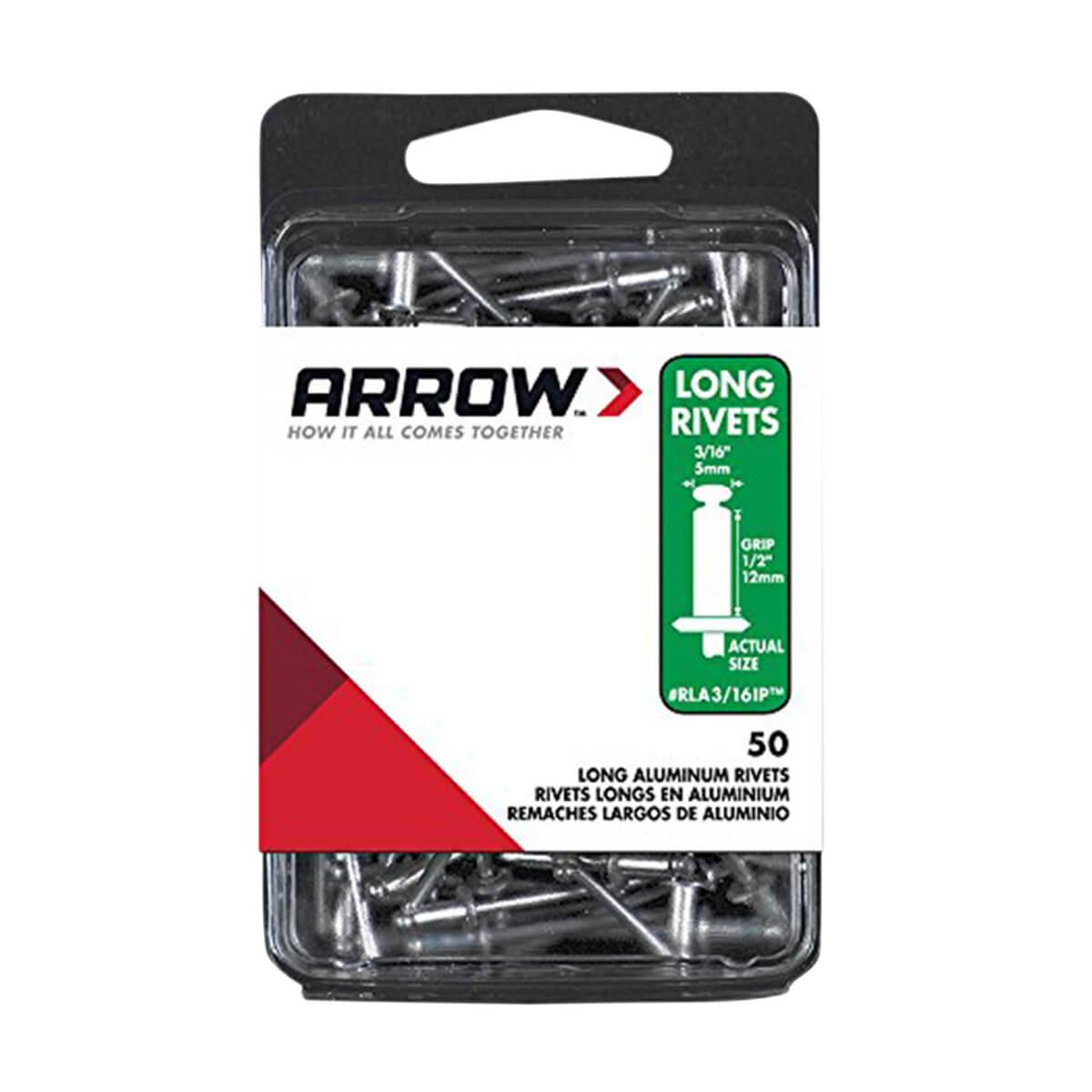Arrow Rivet 3/16 Long IP Aluminum - 50 pack