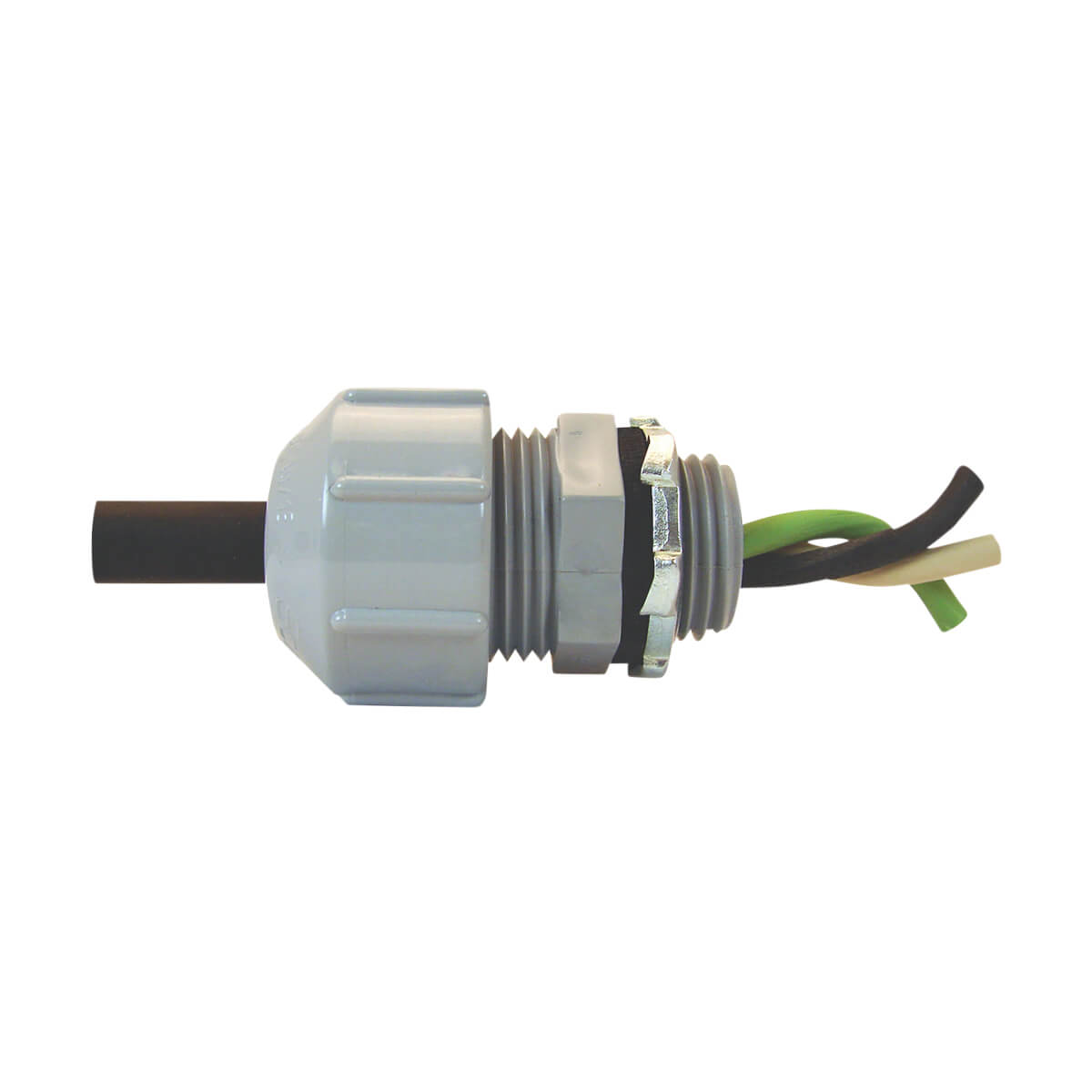 """PVC Conduit Threaded Strain Relief Connector - MPT - 1/2"""""""