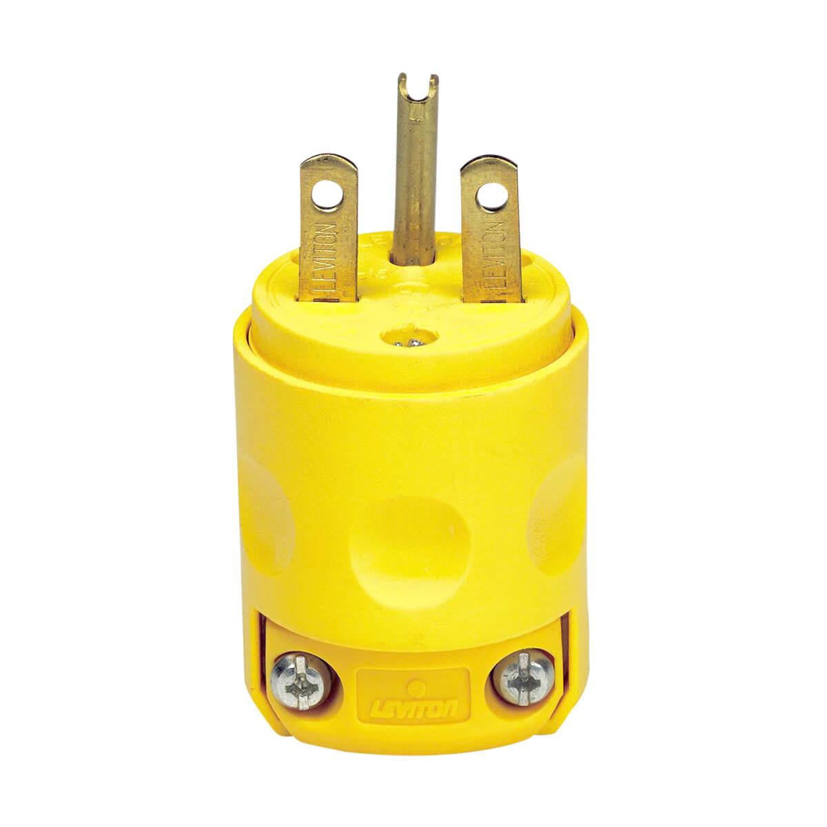 Leviton Yellow Vinyl Plug- 15A 250V