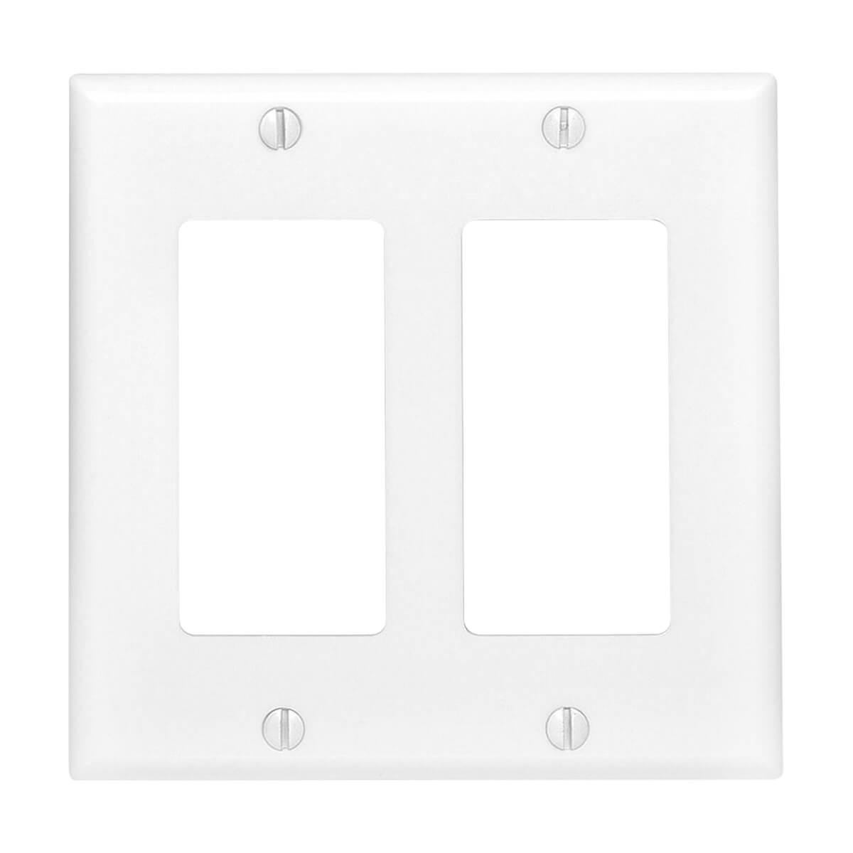 Union 80409w Residential-Grade Decor Wall Plates - Dual Gang - White