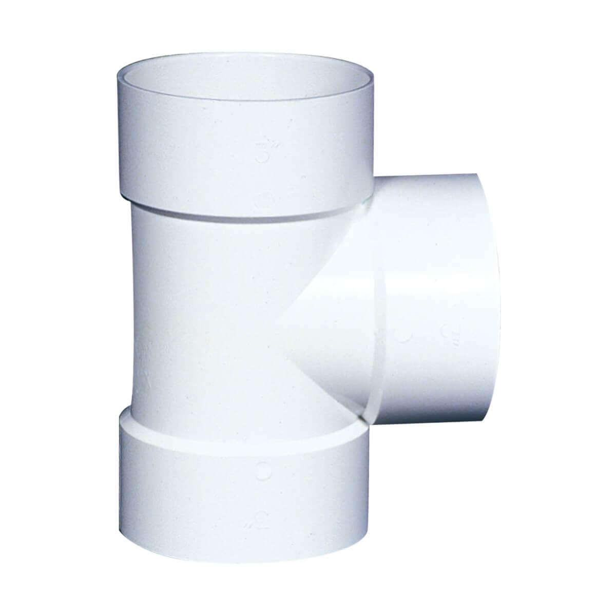 PVC-BDS Straight Tee - Hub - 3-in