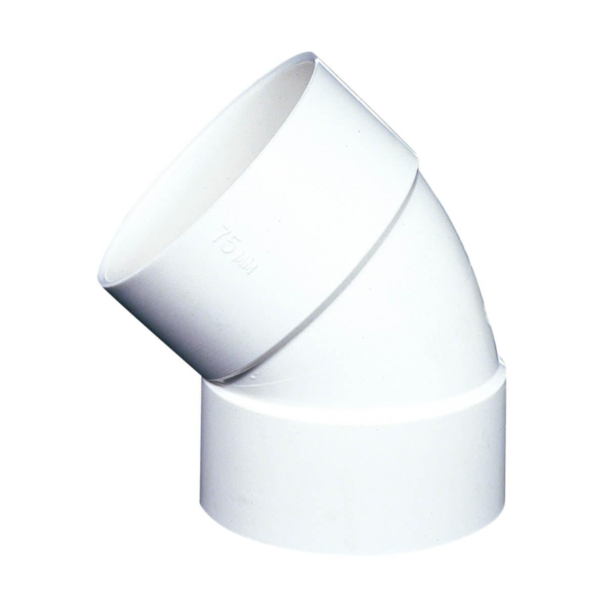 PVC-BDS 45° Elbow - Hub - 3-in