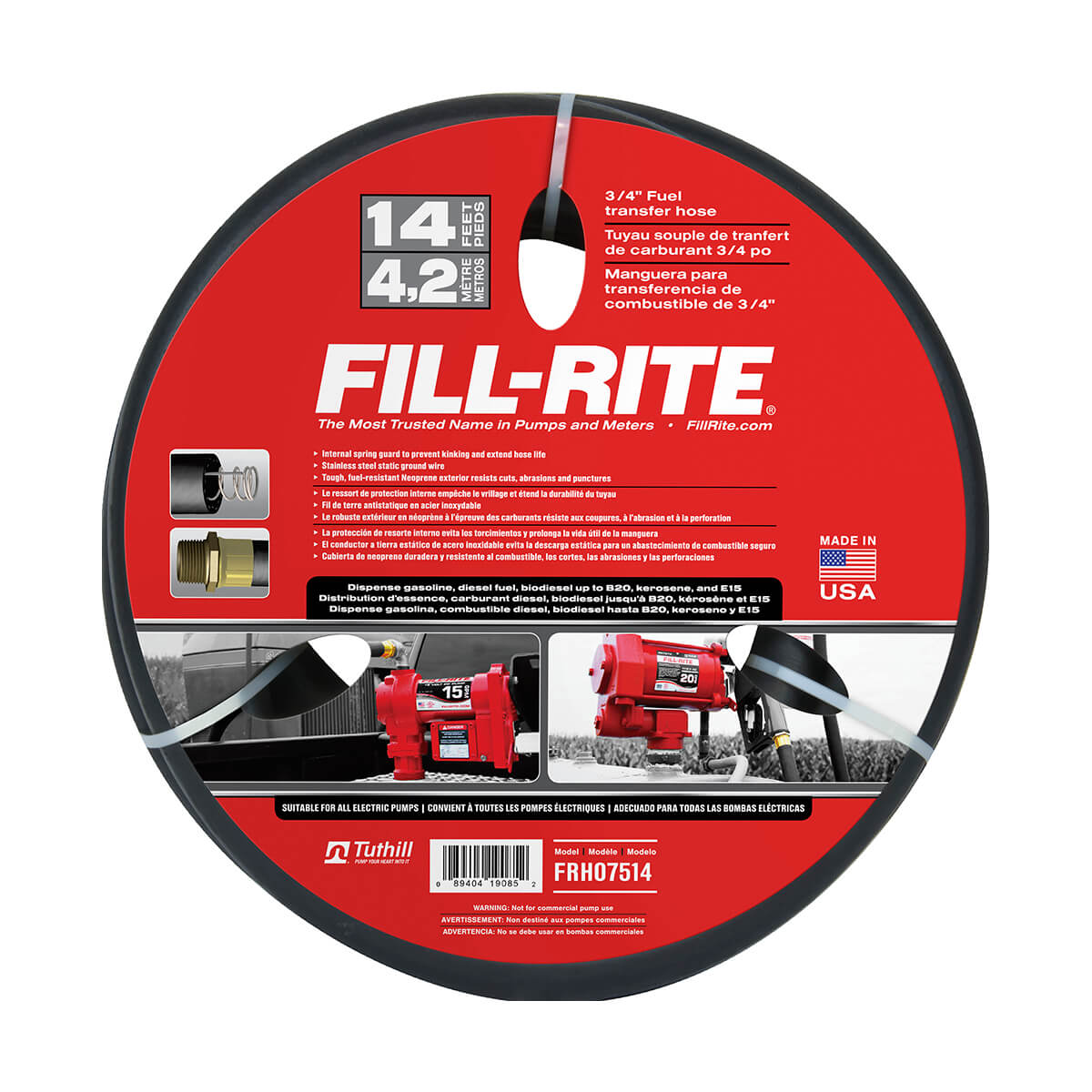 "3/4"" x 14' Fill-Rite Retail Hose"