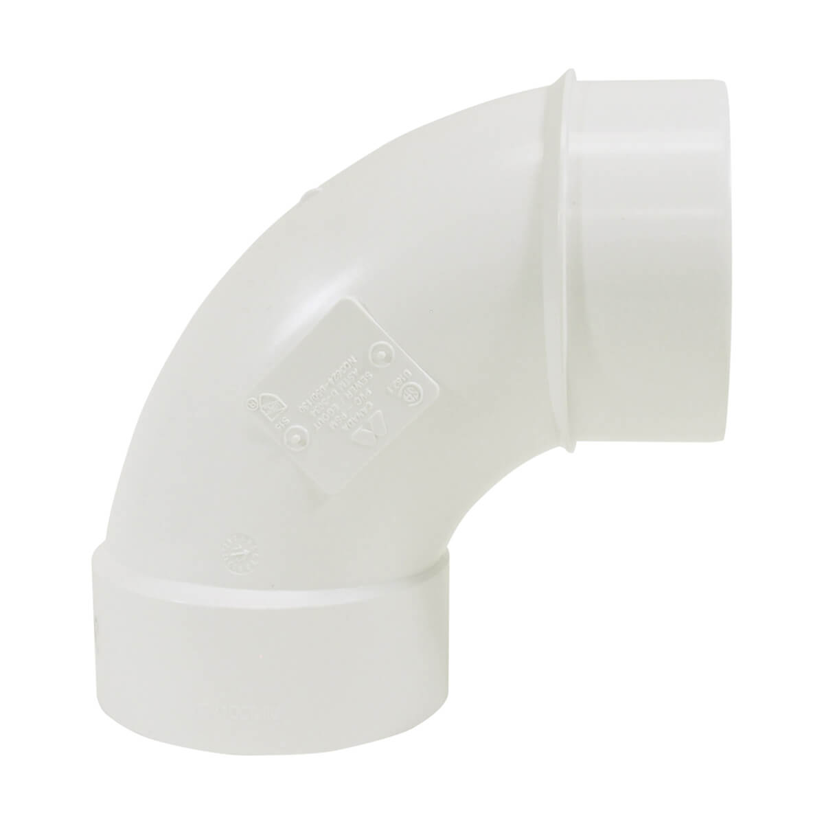 PVC-BDS 90° Street Elbow - Hub x Spigot - 4-in