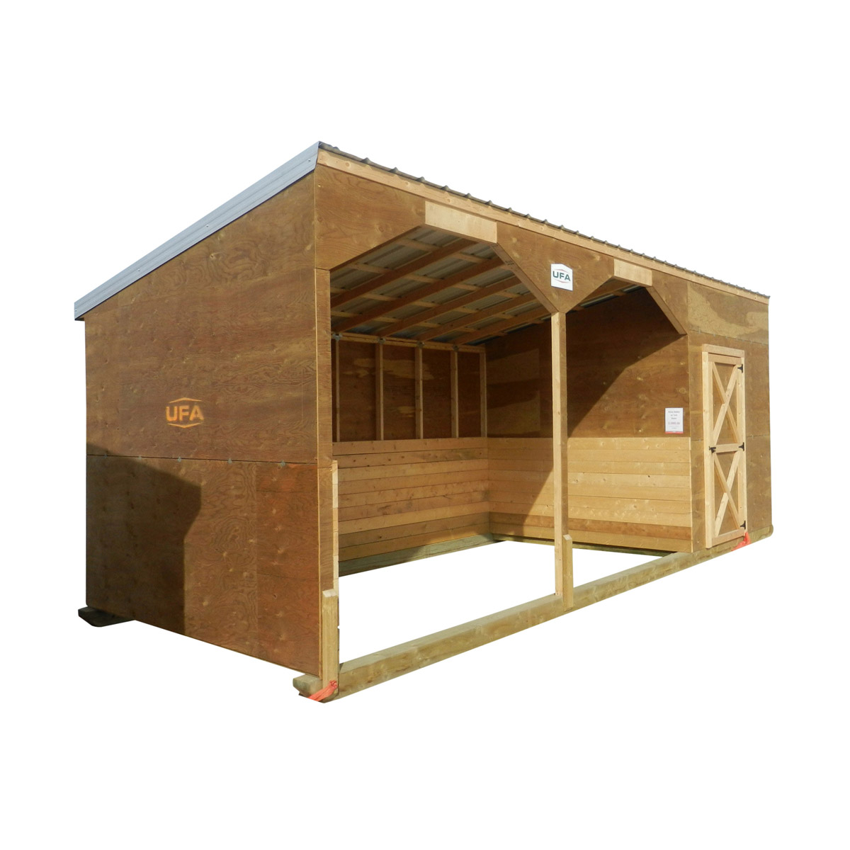 Horse Shelter with Tack Shed 10'x24' (10' Front 8' Back)
