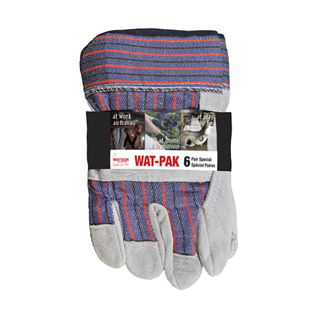 Watson Gloves Leather Combo Split Leather - 6 pack