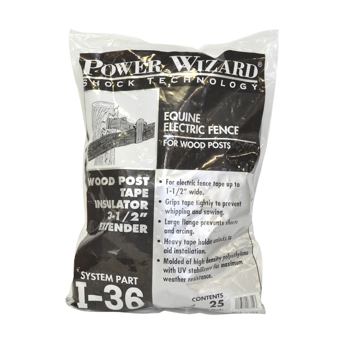 Power Wizard I-36 Wood Post Tape Insulator