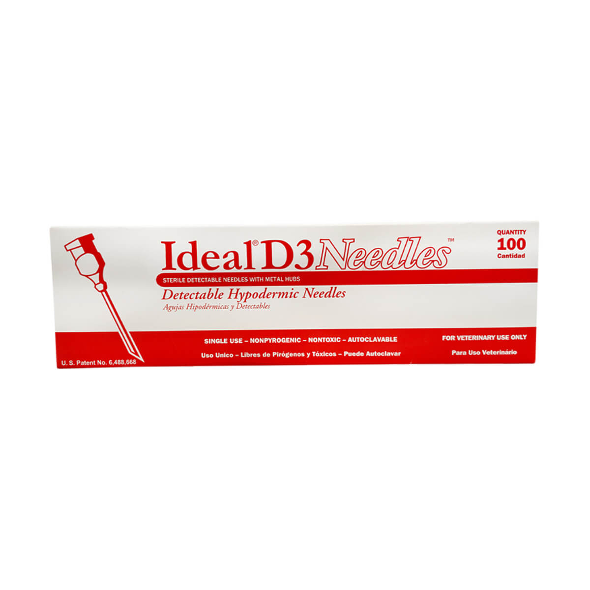 D3 Detectable Needles (100-Pack) - 18 x 1""