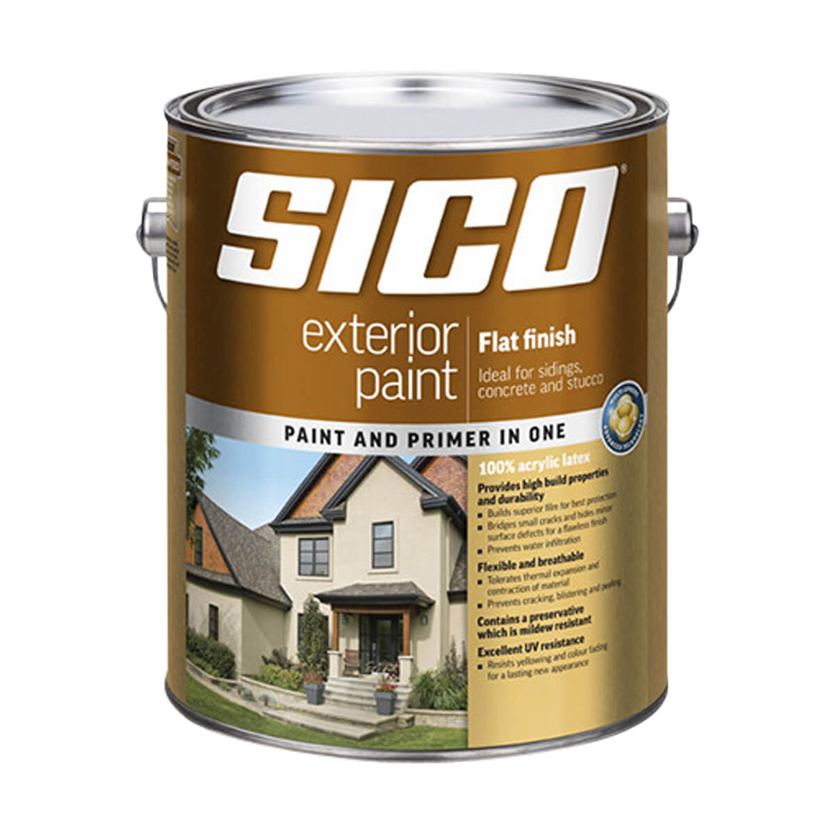 Sico Exterior Paint - Acrylic - Flat Finish Series 811 - Yellow Base - 3.78L