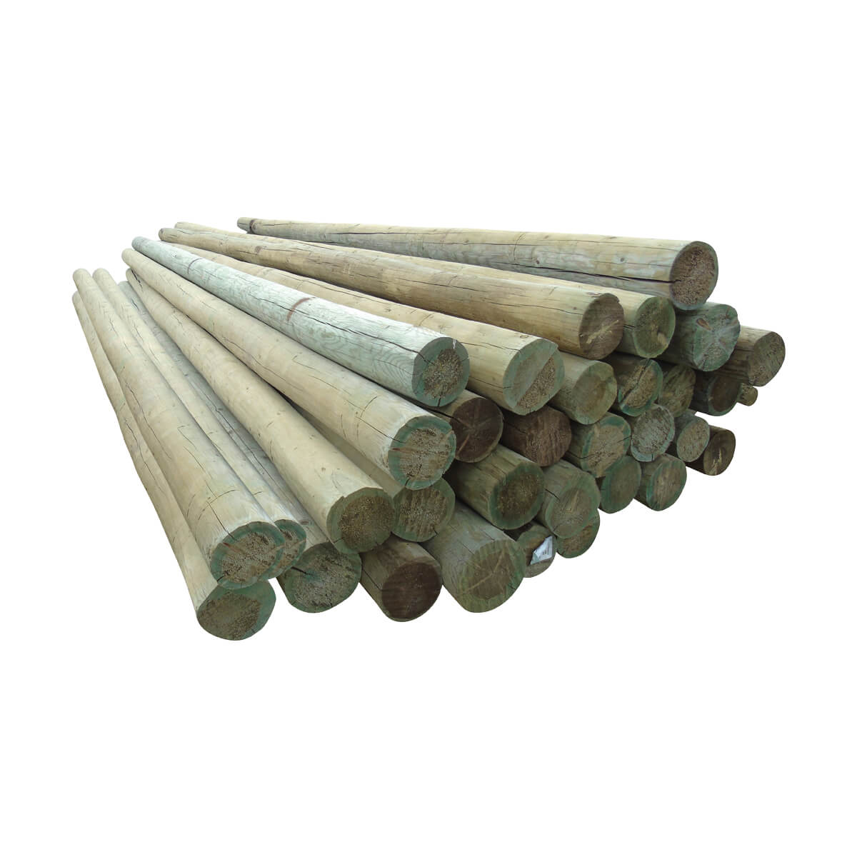 Peeled Fence Poles - Blunt - 7-in x 10-ft