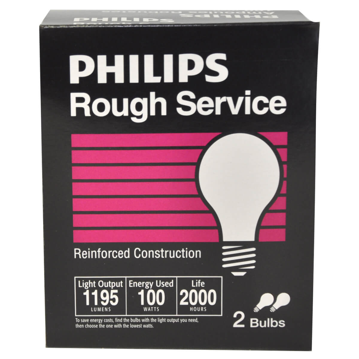 Rough Service Light Bulbs - 100W - 2 Pack